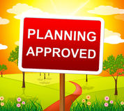 Planungsgenehmigter Durchschnitte überprüfter Durchlauf und Ziel Stockbilder