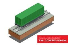Planwagen der Schiene Isometrische Illustration des Vektors des Planwagens der Schiene Bahnfrachttransport Lizenzfreies Stockbild