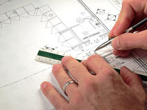 plany architektoniczne projektów Obrazy Stock