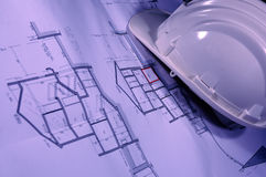 plany architektoniczne rysunki kapelusz Fotografia Royalty Free