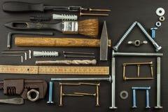 Plany budować dom drewniany tło wieśniak Narzędzia dla budowniczych Architekt projektuje dom dla młodej rodziny Obraz Stock