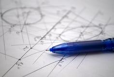Plany dla budowy robić z rapidographs Obrazy Royalty Free