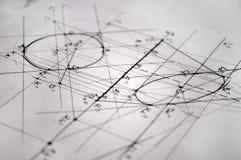 Plany dla budowy robić z rapidographs Obrazy Stock