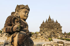 Plaosan寺庙废墟在Java海岛,印度尼西亚 免版税库存照片