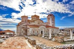 Plaoshnik, Ohrid, Macedonië - Orthodoxe Kerk St Pantelejmon royalty-vrije stock foto