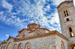 Plaoshnik Ohrid, Makedonien - St Pantelejmon för ortodox kyrka royaltyfri fotografi