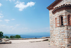 Plaoshnik, Ohrid, Ohrid Lake, Macedonia. Looking to the Ohrid Lake from Plaosnik and the church of St  Panteleimon Royalty Free Stock Photos