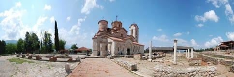 Plaosnik和圣Clement s教会-圣Panteleimon,奥赫里德,马其顿全景  免版税库存照片