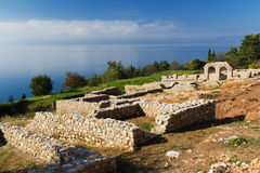 Plaosnik Ruins on Ohrid Lake, Macedonia Royalty Free Stock Image
