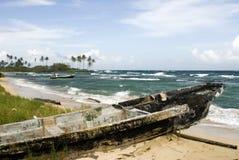plażowa łódź uszkodzona Nikaragui Obraz Stock