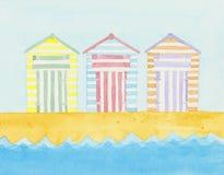 Plażowe budy blisko morza Zdjęcia Royalty Free
