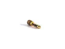 3 plaqués or cric femelle audio de 5 millimètres à l'adaptateur masculin de TRS Images stock