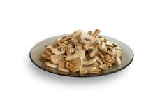 Plaque avec des champignons de couche photographie stock