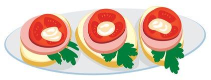 Plaque avec des sandwichs illustration libre de droits