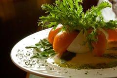 Plaque avec du fromage, des tomates, des verts et la sauce Image libre de droits