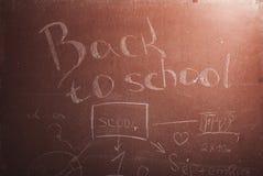 Plaque avec l'inscription de nouveau à l'école, Photo stock