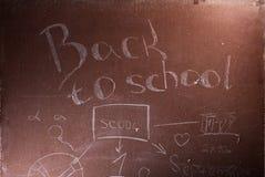Plaque avec l'inscription de nouveau à l'école, Photographie stock libre de droits