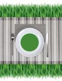 Plaque avec la fourchette et le couteau Photographie stock libre de droits