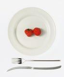 Plaque avec la fraise Image libre de droits