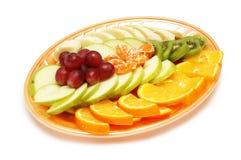 Plaque avec la salade de fruits Photos stock