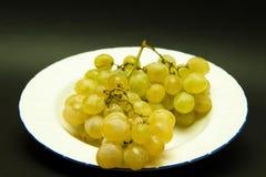 Plaque avec le groupe de raisins photo stock