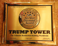 A plaque awarding the Trump Tower six stars by the American Academy of Hospitality Sciences displayed in the Trump Tower Royalty Free Stock Image