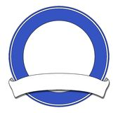 Plaque blue. Blue circular plaque with white scroll Royalty Free Stock Image