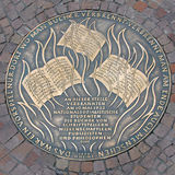 Plaque of 1933 Book Burning in Frankfurt, Germany. Plaque as a dark reminder of the 1933 book burning by students of National Socialism in Frankfurt, Old Town Stock Photography