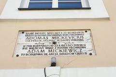 Plaque commémorative au mur vilnius photos stock