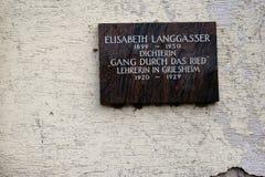 Plaque commémorative Elisabeth Langgässer Images libres de droits