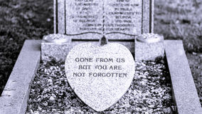 Plaque commémorative sur BW grave Images libres de droits