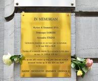 Plaque commémorative sur le mur du musée juif de la Belgique Photographie stock