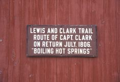 Plaque commemorating Lewis and Clark trail in Boiling Hot Springs,MT stock photos