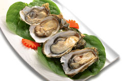Plaque complètement des huîtres Photographie stock