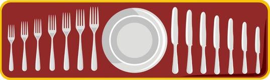 plaque, couteaux et fourchettes Illustration Libre de Droits