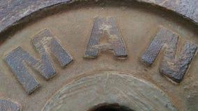 Plaque d'acier le mot qui a l'homme photos stock