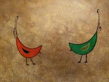 Plaque d'or avec des oiseaux Photos libres de droits