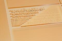 Plaque d'impression pour l'impression flexographique Plat de copie d'essai avec de divers trames, lettres et nombres images libres de droits