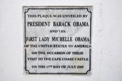 Plaque d'Obama de château de côte de cap, Ghana Photo stock