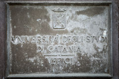 Plaque d'université de Catane Photographie stock
