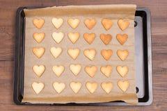 Plaque de cuisson avec des biscuits de Noël dans la forme de coeur Photo libre de droits