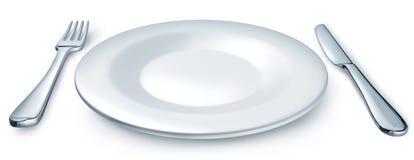 Plaque de dîner avec la fourchette et le couteau Images libres de droits