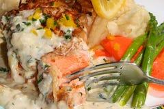 Plaque de dîner saumonée Image libre de droits