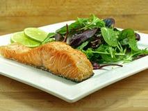 Plaque de filet saumoné frit Image libre de droits