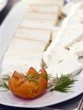 Plaque de fromage blanche Images libres de droits