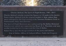 Plaque de l'information, l'esprit du bronze de vol, champ d'amour, Dallas, le Texas photo libre de droits