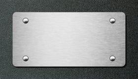 Plaque de métal au-dessus d'illustration en plastique noire du plat 3d Photos stock