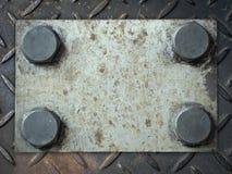 Plaque de métal avec des rivets Photographie stock libre de droits