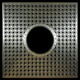 Plaque de métal avec des trous sur la photo de concept de noir d'isolat Photographie stock libre de droits
