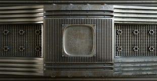 Plaque de métal avec des trous sur la photo de concept de noir d'isolat Images stock